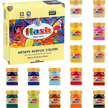Flash Acrylic Paint Set |16 Colors | 50 ml, 1.7 fl oz Each | High Pigment Strength | Non Fading | Indoor/Outdoor | Non Toxic | Multi-Surface Paint | Pro Artist, Hobby Painters & Kid | Made in India