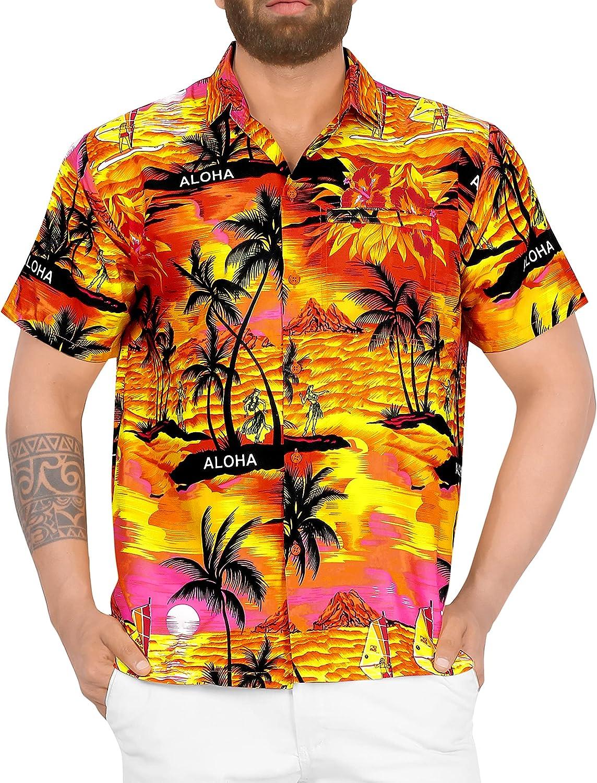 LA LEELA Men's Cheap bargain Relaxed Short Button Casual Hawaiian Down Sleeve Daily bargain sale