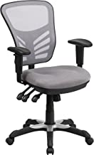 Flash Furniture Mid-Back Gray Mesh Multifunction Executive Swivel Ergonomic Office Chair with Adjustable Arms