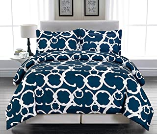 Home Maison Rhys Hotel Quality Luxury Comforter Duvet Insert Cover Hypoallergenic | 3 Piece Set | Geometric Collection, | Fits Full & Queen Size |, Indigo Blue