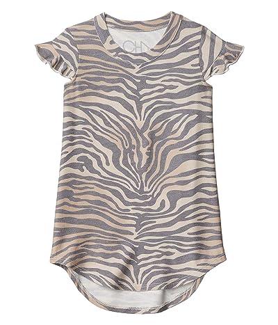 Chaser Kids Cozy Knit Ruffle Shirttail Mini Dress (Toddler/Little Kids) (Zebra Print) Girl