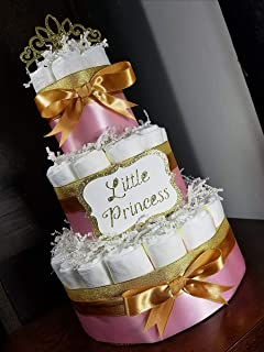 Little Princess Diaper Cake - 3 Tier - Baby Shower Gift - Pink and Gold or Red and Gold - Custom