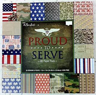 Army Navy Air Force Marines Military the Paper Studio Proud to Serve Scrapbook Paper 12