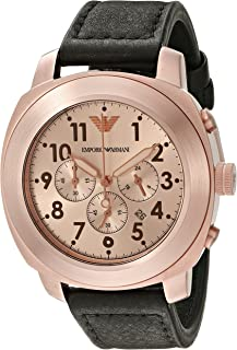 Emporio Armani Men's Rose Gold Dial Leather Band Watch - AR6087