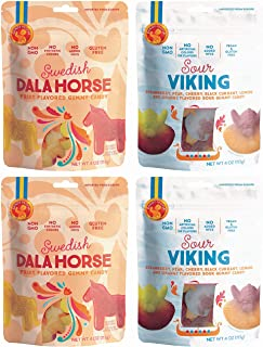Candy People Swedish Non-GMO Gummy Candy Variety Pack of 4 - Dala Horse and Sour Viking