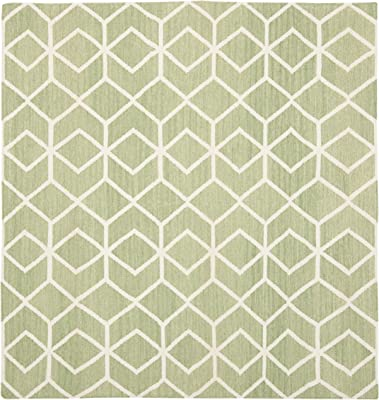Safavieh Dhurries Collection DHU560B Hand Woven Sage and Ivory Premium Wool Square Area Rug (8' Square)