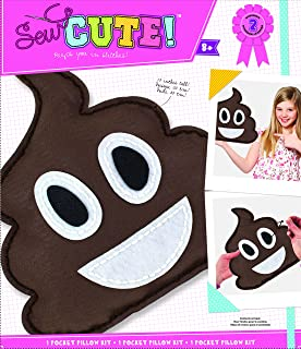 ColorBok Sew Cute Felt Sewing Kit Emoji Brown Pillow Craft For Kids