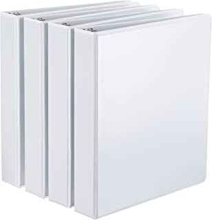 AmazonBasics D-Ring Binder - 1.5 Inch, 4-Pack