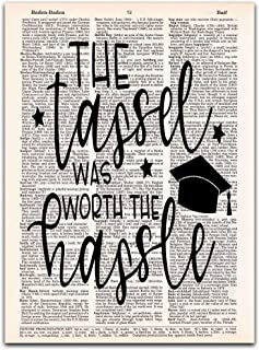 The Tassel Was Worth the Hassle, Senior Class Graduation Gift, Dictionary Print Wall Art