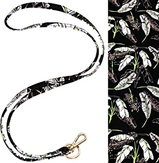 Cute Neck Lanyard with Clip and Key Ring for Keys/ID Badge/Name Tag, Great for School, Office, Events (Leaf)