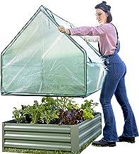 Danjani Outdoor Raised Garden Bed with Drop Over Greenhouse - Durable, Anti-Rust Steel Flower Beds - 71.3 Gal Planter Box ...