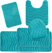 Elvoki 5 Piece Bathroom Rugs Set - Soft Non Slip Memory Foam Large Bathroom Rug Mats - Perfect Combination of Luxury and Comfort - Aqua Teal/Sea Design