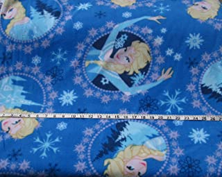 Fleece Fabric by the Yard - Disney - Frozen Elsa on Blue Background