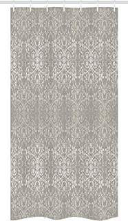 Ambesonne Grey Stall Shower Curtain, Victorian Lace Flowers and Leaves Retro Background Old Fashioned Graphic, Fabric Bathroom Decor Set with Hooks, 36
