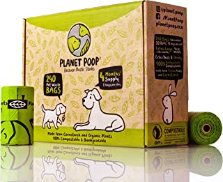 Compostable Biodegradable Dog Poop Bags Unscented - Large 9 x 16 Inches with Handles – Thick, Leak Proof, Plant Based, Pet Waste Bags - Highest Rated ASTM D6400 - Supports Dog Rescue