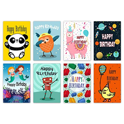 16 Assorted Childrens Birthday Cards Envelopes By Greetingles For Boys Girls 8 New