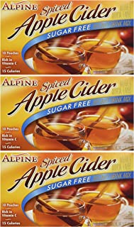 Alpine, Spiced Cider, Sugar Free Apple Flavored Drink Mix, 1.4oz Box (Pack of 3)