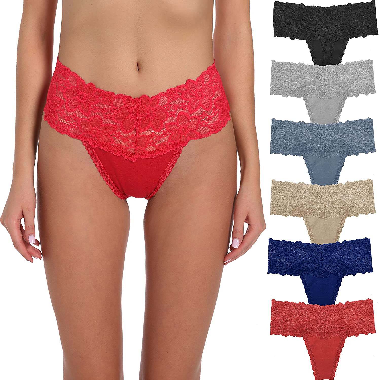 High Cut T Back Underwear Lace Fashion & Retro Thick Band Thongs for Women with Colors and Patterns Regular & Plus Size