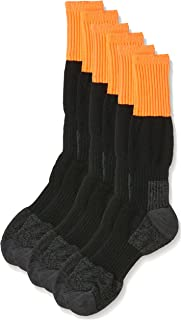 Rio Men's Reinforced Cushion Comfort Work Socks (3 Pack), Orange, 6-10
