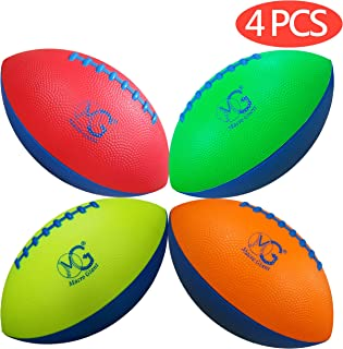 Macro Giant 9 Inch Safe Mini Soft Foam Training Practice Football, Set of 4, Playground Ball, Kid Sports Toys, Neon Colors, Kickball, Backyard, Beach, School Playground, Kid Toy, Beginner