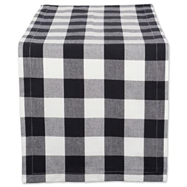 DII Classic Buffalo Check Tabletop Collection for Family Dinners, Special Occasions, Barbeques, Picnics and Everyday Use, 100% Cotton, Machine Washable, Table Runner, 14x108, Black & White