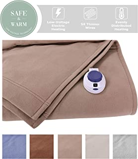 SoftHeat by Perfect Fit | Luxury Fleece Electric Heated Blanket with Safe & Warm Low-Voltage Technology (Full, Beige)