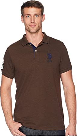 Slim Fit Solid Polo w/ Contrast Striped Underside of Collar