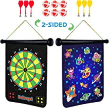 Magnetic Dart Board for Kids - 2 Sided Roll Up Dartboard, Indoor Games for Kids with 6 Magnetic Darts and 6 Dart Balls