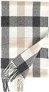 Foxford Woollen Mills Herringbone Check Lambswool Scarf in White/Dark Gray/Sand