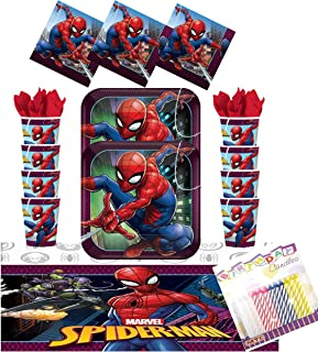 Spiderman Party Supplies Pack Serves 16: Dinner Plates, Luncheon Napkins, Cups, Table Cover, and Birthday Candles