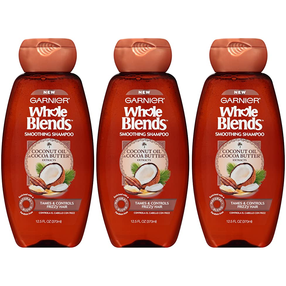 Garnier Whole Blends Smoothing Shampoo for Frizzy Hair with Coconut Oil, 12.5 Ounce Bottle, 3 Count