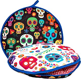 """Largest! TWO SIDED Tortilla Warmer, 12"""" Insulated and Microwaveable, Fabric Pouch Keeps Them Warm for up to One Hour! Perfect Holder for Corn & Flour, Insulated Keeper! By ENdeas"""