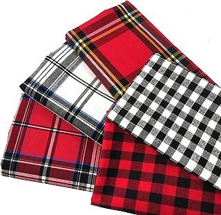 "ZAIONE 5pcs Set 100% Cotton Buffalo Plaid Tartan Fabric Fat Quarter Bundle 17.7"" x 17.7"" Yarn-Dyed Plaid Check Cloth Quilt..."