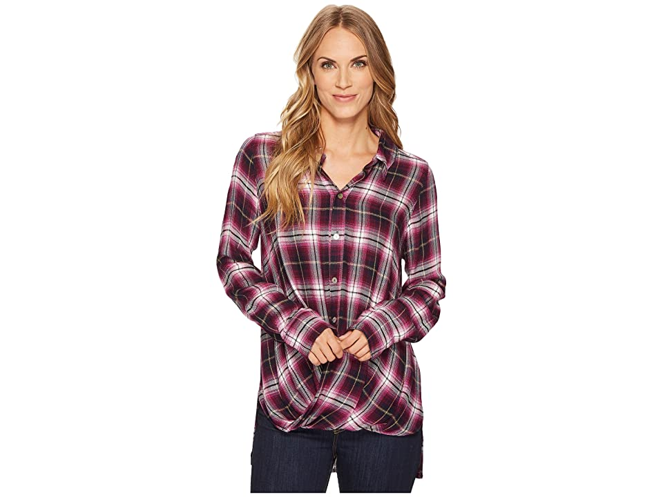 Mod-o-doc Thistle Long Sleeve Twist Hem Shirt (Thistle) Women
