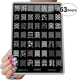 VAGA nail art supplies Jumbo nail stamping kit Collection has hundreds of fingernail Nail stamper designs engraved on Plat...