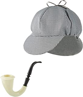 Sherlock Holmes Houndstooth Detective Sleuth Hat With Costume Pipe