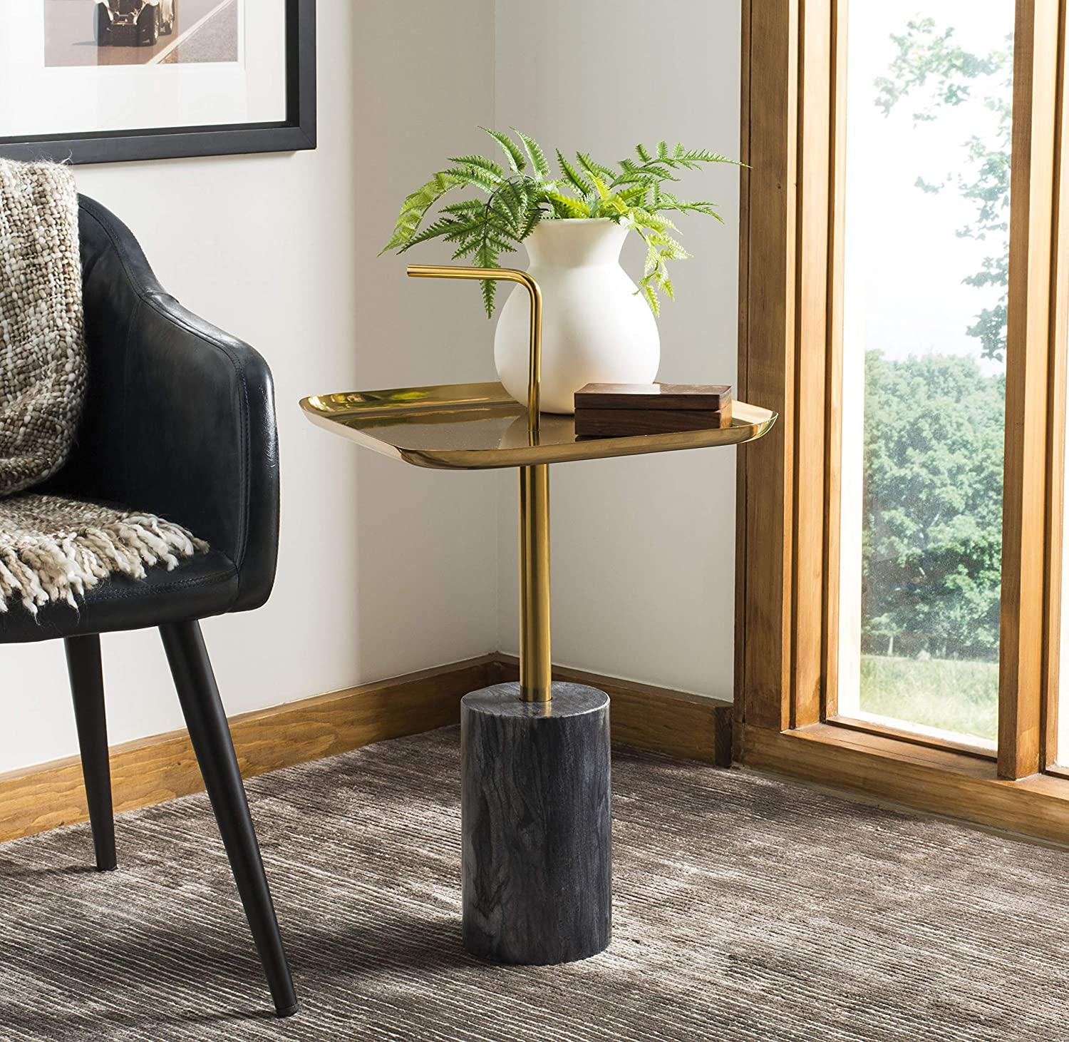 Safavieh Home Artemis Brass Handle Max 67% OFF Table Animer and price revision Black Marble Side