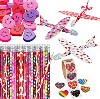 208 Valentine's Day Party Favors (36 Pc Set) Pencils, Heart Erasers, Roll of 100 Stickers, Foam Mini Gliders, Kids Gift Se...