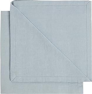 Marks & Spencer T343324E Set of 2 Linen Napkins, Light Blue- H 0.4 cm x W 50 cm x L 50 cm