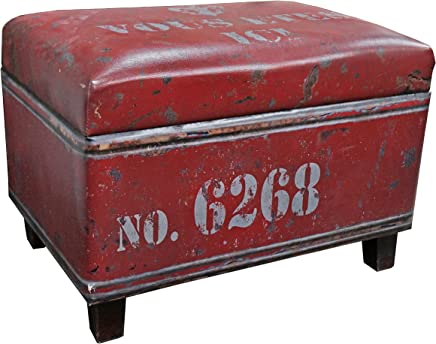 featured product NACH FJ-14-1042R Rectangular Industrial Faux Leather Storage Stool and Ottoman,  Red