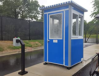 Prefabricated 4' x 4' Security Guard Shack/Ticket Booth/Parking Attendant Kiosk - Deluxe Model with Swinging Door