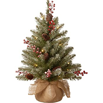 National Tree Company Pre-lit Artificial Mini Christmas Tree | Includes Small LED Lights, Red Berries, Pine Cones and Cloth Bag Base | Dunhill Fir - 2 ft