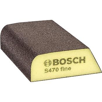 Bosch Professional 2608608223 Esponja S470 por Profile Fina (Madera, plástico y Metal, 69 x 97 x 26 mm, Accesorios para Lijado a Mano), Amarillo/Gris, Fino