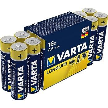 Pila VARTA Longlife Power AA Mignon LR06 (paquete de 16 unidades), pila alcalina - «Made in Germany» - Ideal para juguetes, linternas, mandos y otros aparatos que funcionan con pilas: Amazon.es: Salud