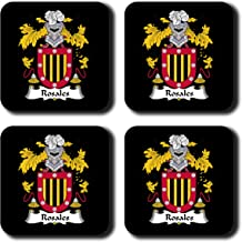 Rosales Coat of Arms/Family Crest Coaster Set, by Carpe Diem Designs – Made in the U.S.A.