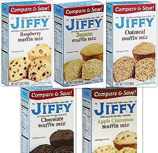 Jiffy Muffin Mix Variety Bundle, 7 oz (Pack of 5) includes 1-Box Banana Muffin Mix + 1-Box Oatmeal Muffin Mix + 1-Box Raspberry Muffin Mix + 1-Box Apple Cinnamon Muffin Mix + 1-Box Chocolate Muffin Mix