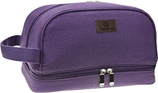 Premium Canvas Toiletry Bag By Freegrace - Large Dopp Kit For Men & Women - The Perfect Travel Essentials Organizer – Ideal For Cosmetics, Personal Items, Shaving Sets, Shampoo, Body Wash & More (Purple)