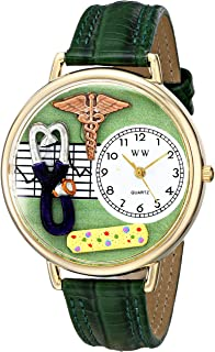 Whimsical Watches Nurse 2 Green in Gold Women's Quartz Watch with White Dial Analogue Display and Green Leather Strap G-06...