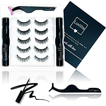 (5 Sets Lashes 2 Liners) Luxillia by Amazon Magnetic Eyelashes with Eyeliner Kit - 8D Lashes Natural Look, Cruelty-Free, Waterproof Liquid Eye Liner for Magnet Lash Set, Reusable, No Glue, Applicator