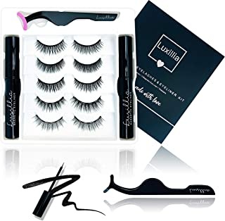 (5 Sets Lashes 2 Liners) Luxillia by Amazon Magnetic Eyelashes with Eyeliner Kit - 8D Lashes Natural Look, Cruelty-Free, W...